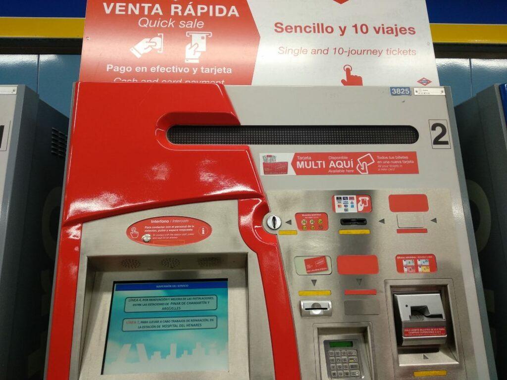 Máquinas venta rápida Metro Madrid